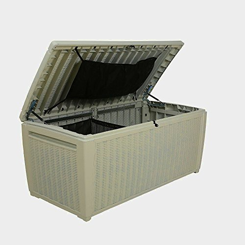 Rattan Garden Storage Box Plastic Shed Large Unit Containers White