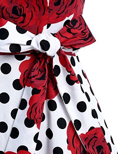 Dressystar Damen Vintage 50er Cap Sleeves Dot Einfarbig Rockabilly Swing Kleider Weiß Schwarz Rose