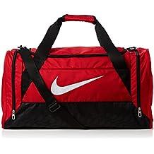 Nike Brasilia 6 Duffel Medium - Bolsa unisex, color rojo / negro / blanco, talla única