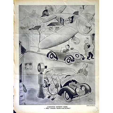 Impresión Antigua del Coche de Motor del Avión de la Revista del Humor de Le Rire French