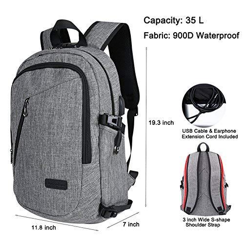 adoya Business Laptop Rucksack Schule Backpack 15,6 Zoll Notebook Tasche Wasserdichte Anti Diebstahl Computer Rucksacke fur Herren und Damen mit USB Aufladung und Kopfhorer Port