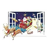 DDG EDMMS Kreative Weihnachtsmann mit Schlitten Wand Etikett Weihnachten herausnehmbaren Fenster Tür Aufkleber PVC-Aufkleber Hauptdekor Weihnachtsdekoration