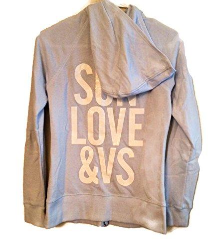 Victorias Secret Damen Supermodel Sweatshirt Pailletten Bling Hoodie XS mit Reißverschluss Gr. XS, Blau - Blau (Pullover Von Victoria Secret)