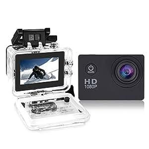 """Yuntab Videocamera fotocamera sport d'azione Full HD 1080P impermeabile LCD da 2,0 """"a 120 ° Obiettivo DVR esterna del casco camma di azione della macchina fotografica per (A9 Nero)"""
