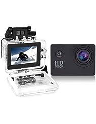 Yuntab ® A9 Caméra de Sport action caméra étanche Full HD 1080p H.264 avec Caméscope HD Vidéo de 5 Mégapixels Action caméra avec grand angle 120 degrés et accessoires avec boitier étanche et adaptateur(A9N, Noir)