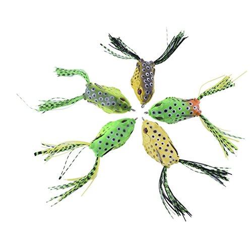 Molie 5PCS Leurres grenouille de pêche souple doux en mer mouche poisson plastique amorce appât carpe truite brochet hameçons tacle