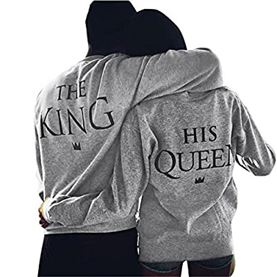 Bekleidung Loveso Pullover Herbst Winter Valentine Couple Lover Kleidung The King and His Queen Grau Baumwollmischung Sweatshirt Tops Bluse Streetwear T-shirt