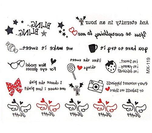 Metallic Tattoo / Schmucktattoo / Body Flash Tattoo /Aufkleber für die Haut Gold Silber Bronze Tattoo mit Totenkopf Feder Dreieck Kreuz Infinity Symbol Motiv / Henna Style von DesiDo (Rote Schleife Brille)