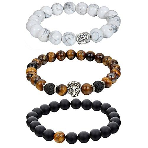 Gebet Dame (Cupimatch 3pcs Damen Herren Buddha Armband Armreif, Energie-Stein Kugeln Perlen Gebet Mala Stretch Energiearmband, Braun Weiß Schwarz)