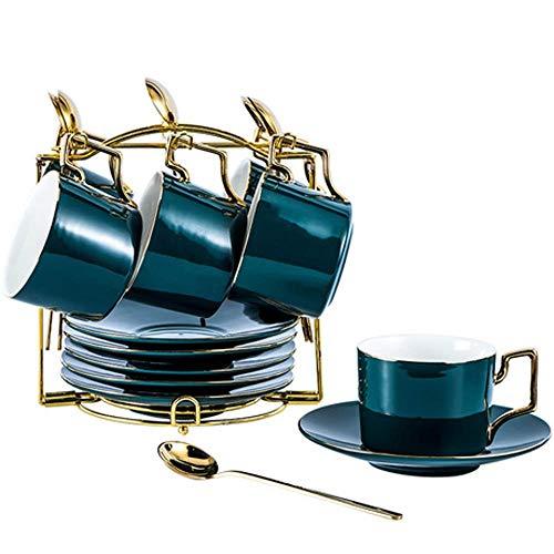 ERKEJI Kaffeeset Kaffeetasse und Saucer gesetzt europäischer Stil Gold-umrandeten Keramik Haus Nachmittag Tee-Set Kaffee-Set mit Tasse holde Gold Teekanne