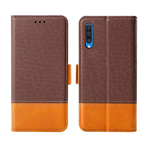 fitmore Samsung Galaxy A50 Wallet Hülle Case, Slim PU Leather Pouch Stand and Card Holders Wallet Hülle Case Cover Girls Protective Hülle Case Compatible with Samsung Galaxy A50 -Brown (Light Switch Custom)