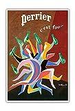 Pacifica Island Art - Perrier - C'est Fou - Eau gazeuse_ - Affiche publicitaire de Bernard Villemot c.1970s - Master Art Print - 33 x 48 cm