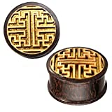 Branchez bois brun lignes de grains de tamarin motif jacquier or Inlay perçage 18 mm