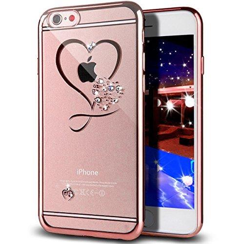 iPhone 6S Plus Hülle,iPhone 6 Plus Hülle,ikasus Glänzend Glitzer Strass Diamanten Überzug TPU Silikon Crystal Durchsichtig Schutzhülle Handyhülle for iPhone 6S Plus/6 Plus,Rosegold Herz der liebe