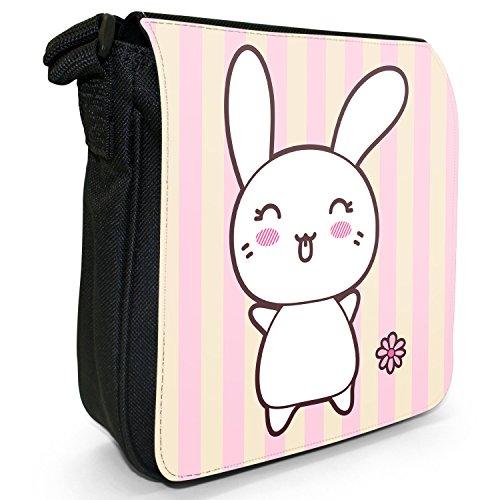 Funny & motivo coniglietti Kawaii Pink-Borsa a tracolla in tela, piccola, colore: nero, taglia: S Tongue Out Kawaii Rabbit
