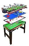 Multigioco Sport One Supertable II - 4 Giochi in 1 - Calciobalilla 3 Vs 3 Aste Rientranti / Ping Pong / Tavolo da Biliardo & Speed Hockey - Cm 97,5 X 48 X 69 con ASTE DI SICUREZZA - NOVITA