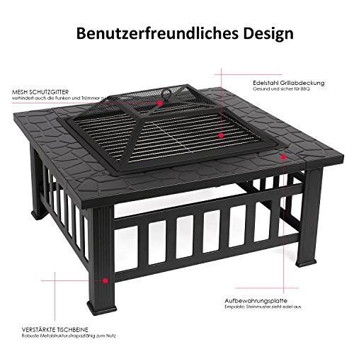 Femor Garten Feuerschale Quadratisch Metall Feuerstelle Terassenofen - 3