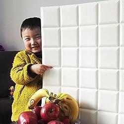 GOGO GO 5PCS 3D Ladrillo Autoadhesivo Pegatina Pared 60X60X0.7CM Papel Pintado Impermeable PE Espuma Muy Suave DIY Dormitorio Sala TV Fondo Limpieza Instalación Fácil