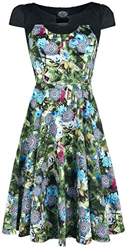 H&R London Robe Swing Florale Green Crop Robe mi-Longue Multicolore M