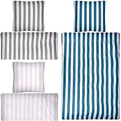 Aminata Kids - Wende-Bettwäsche-Set 135-x-200 cm Streifen-Motiv gestreift-e 100-% Baumwolle Renforce Weiss-e dunkel-blau-e