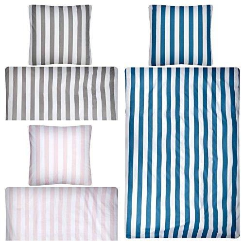 Aminata Kids - Wende-Bettwäsche-Set 135-x-200 cm Streifen-Motiv gestreift-e 100-% Baumwolle Renforce Weiss-e dunkel-grau-e anthrazit - Gestreifte Weiße Decke