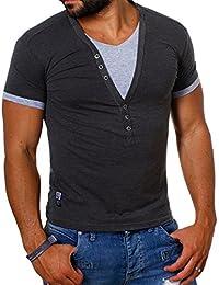 Carisma Herren double Look T-Shirt deep v-neck tiefer V-Ausschnitt slim fit Kontrast Optik tee