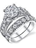 Ultimate Metals Co. Solid Sterling Silver 925 Engagement Ring Set Bridal Rings With High Quality Cubic Zirconia Size T 1/2
