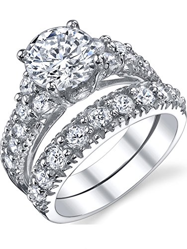 Ultimate Metals Co. Solid Sterling Silver 925 Engagement Ring Set Bridal Rings Cubic Zirconia