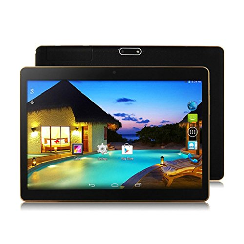 Fuibo Tablet PCs, 10,1 Zoll 4G + 64G Android 6.0 Dual SIM Dual Kamera Telefon WiFi Phablet Tablet PC (Schwarz)