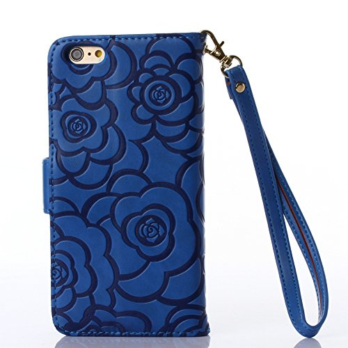 Pour iPhone SE Coque, iNenk® Retro Une fleur Modèle Téléphone Coque PU Cuir Portefeuille Carte Chaîne Téléphone Coque Housse protection-Bleu Bleu