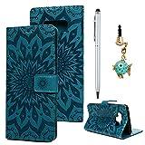 Schutzhülle für Samsung Galaxy Note 9 Ledercase Handyhülle Hülle Tasche Wallet Bookstyle Flipcase Folio Handytasche Kartensätze Magnetisch Ständer Rückschale Handycover Sonnenblume Blau