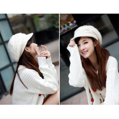 14f921f018a LOCOMO Women Girl Slouchy Cut Openings Fluffy Knit Beanie Crochet ...