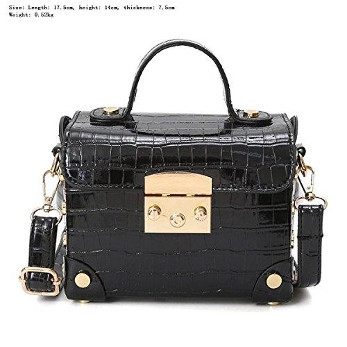 FZHLY Primavera E L'estate Europa E Stati Uniti Stati Pietra Piccola Piazza Borsa Lock Box Shoulder Bag,Pink Black
