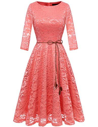bridesmay Damen 3/4 Ärmel Prinzessin Blumen Spitzenkleid Brautjungfernkleid Cocktailkleider Coral ()
