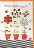 Geburtstagskarte Lustige Vögel, Blumen und Schmetterling