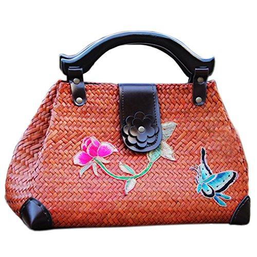 broderie à la main en tricot / armure toile de sac à main de bambou rotin paille / sacoche / Sacs portés épaule / Sacs portés main pattern 2 type brun