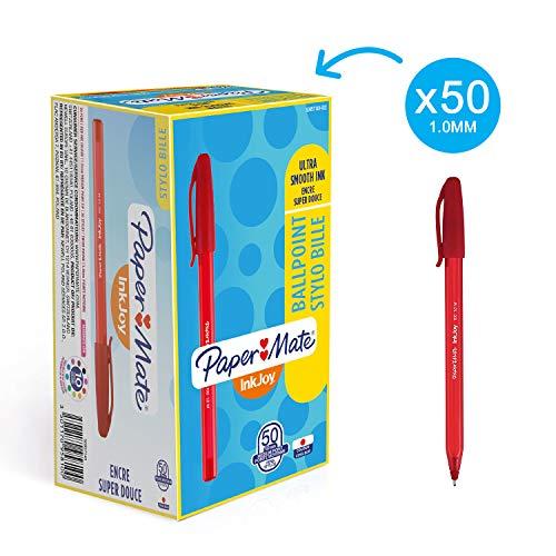 Paper Mate S0957140 InkJoy 100CAP Capped Kugelschreiber (mittlere Schreibspitze, 1,0 mm) 12er Box, rot - Rot Paper Mate