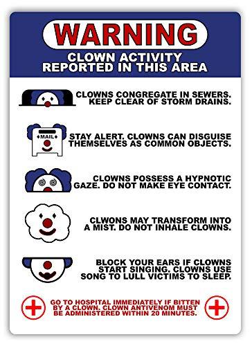 (PotteLove Warnung! Wandschild Clown Activity Report, Metall, 20,3 x 30,5 cm, It King Horror)