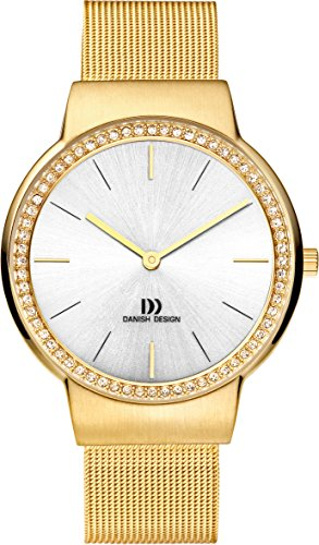 Danish Design Women's Quartz Watch with White Dial Analogue Display and Gold Stainless Steel Gold Plated Strap DZ120190