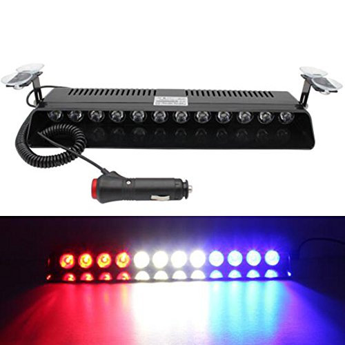 Weiße Blaue Blitzleuchten Und (Viktion 12V 12LED Auto Blinklicht Blitzleuchte Warnblitzleuchte LED Straßenräumer Frontblitzer Stroboskoplicht Warnleuchten Auto Blitzlicht LED Autolampe auto PKW/LKW led 12W (rot blau weiß))
