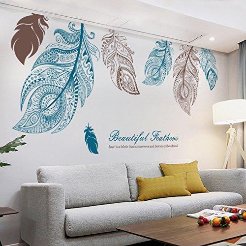 Gosunfly Große Schönheit Feder Dekoration Wandaufkleber Kreative Schlafzimmer Wohnzimmer Tv Hintergrund Mode Ecke Kunst Wand Papier Aufkleber Extra Groß