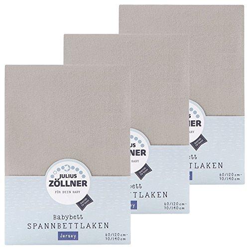 Zöllner Spannbetttuch Jersey 70x140 / 60x120 Taupe 3er Pack
