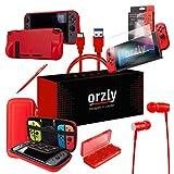 ORZLY® Ultimate Pack Accesorios para Nintendo Switch [Incluye: Protectores de Pantalla, Cable USB, Funda para Consola, Estuche Tarjetas de Juego, Funda Comfort Grip Case, Auriculares] - Rojo