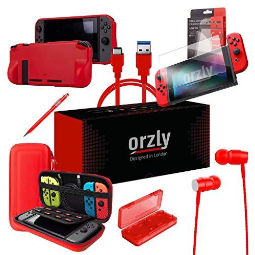 ORZLY® Switch Accesoires, Zubehör für Nintendo Switch (Panzerglas Schutzfolien, USB Ladekabel, Konsole Tragetasche, Spiele Patronenhülse, Comfort Grip Case, Kopfhörer) ROT Portable Audio Review