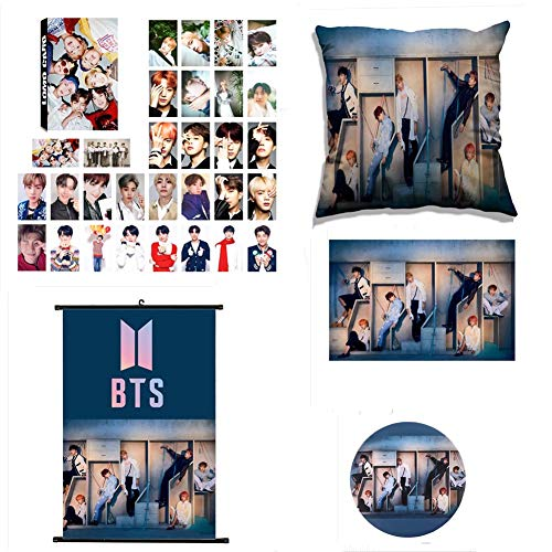 CAR-TOBBY BTS Bangtan Boys [Love Yourself : Respuesta] BTS Pintura de Desplazamiento, BTS Poster + BTS Photocard Set + BTS Badge Broche + BTS Funda de Almohada, Mejor Gife para BTS Army