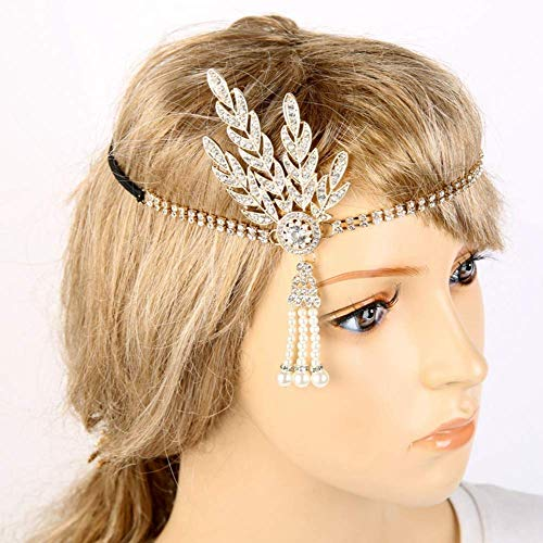 e Flapper Great Gatsby Wedding Bridal Tiara Pearl Head Band ()