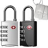 Kyerivs 2 Stück TSA Reiseschloss/Gepäckschloss 4 Nummern Kombination Code Sicherheit Vorhängeschloss für Reisekoffer Gepäck