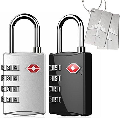 Kyerivs 2 Stück TSA Reiseschloss/Gepäckschloss 4 Nummern Kombination Code Sicherheit Vorhängeschloss für Reisekoffer Gepäck - Bag Safety First