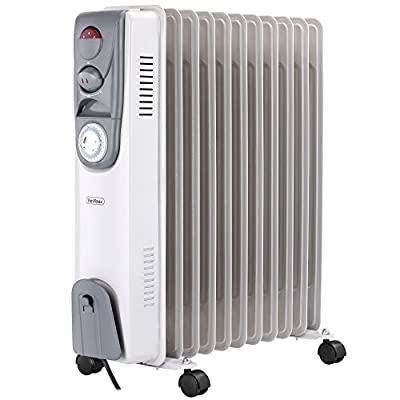 VonHaus Oil Filled Radiator 11 Fin, 2500W, White - 3 Power Settings, Adjustable Thermostat, Thermal Safety Cut off & 24 Hour Timer