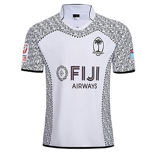Yujingc Fidschi-Rugby-Trikot für Herren Kurzärmliges T-Shirt Lässiger amerikanischer Fußball Trainingsanzug T-Shirt mit halben Ärmeln für Fußballfans,White,L